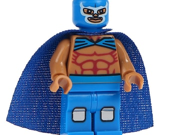 Lucha Libre Mexican Wrestler Fighter Blue Demon Custom Printed Minifigure Compatible with LEGO