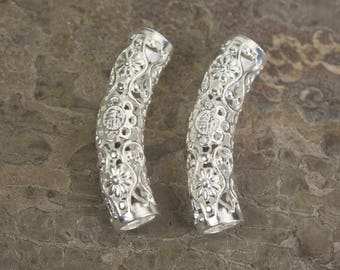 sterling silver tube beads - 925 sterling silver beads - round tube beads - filigree jewelry making - filigree jewelry supplies - 2pcs