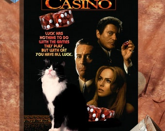 Tuxedo Cat Fine Art Canvas Print - Casino Movie Poster NEW COLLECTION