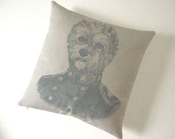 SALE General Terrier silk screened cotton canvas throw pillow 18 inch gray