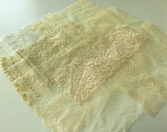assortment of various smaller sheer lingerie tulle lace / mesh swatches — cream / beige  — different sizes and patterns