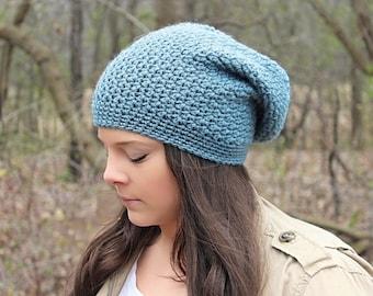 Slouchy Beanie, Slouchy Hat, Blue Beanie, Blue Hat, Crochet Hat, Crochet Beanie,Blue Slouchy Hat, Blue Crochet Hat, Slouch Hat, THE DENALI