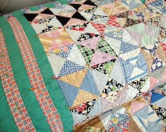 Vintage Floursack Quilt Bow Tie Farmhouse Fresh 1930's - 1940's Era 74 x 92 Gorgeous!