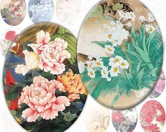 Vintage japanese asian flowers digital collage sheet Ovals 30mm x 40mm (253) Buy 3 - get 1 bonus