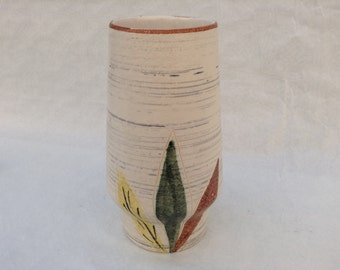 Mid-century modern vase with three-leaf decoration 20 cm West-Germany