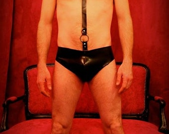 Latex men harness panty with bow tie