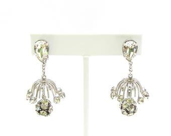 Napier Earrings | Chandelier Earrings | Rhinestone Ball | Drop Clip Earrings | Bridal Earrings | Sparkly Earrings | Rhinestone Earrings