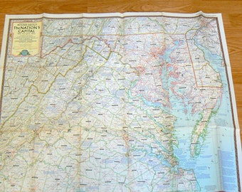1956 Vintage Map Round About The Nations Capital National Geographic Society Map