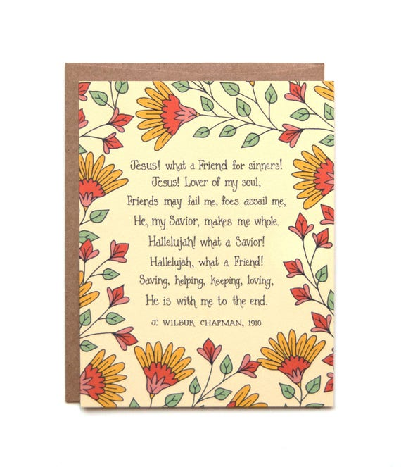Jesus What A Friend For Sinners Hymn Greeting Card Gift For