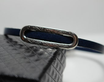 Beautiful blue and silver leather bracelet with scroll slider and magnetic clasp