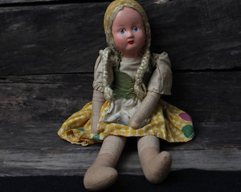 Vintage Doll, 1950s Ethnic Doll, Poland, Painted Celluloid Face, Mid Century Ethnic Doll