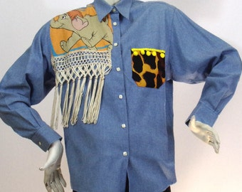 Short shirt blue Pattern Africa T2 Brand Antonelle by K4U-Créations | Price sold!