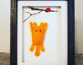 Needle felted art, Hang in there, merino wool, felted box frame, motivational art, mixed media, soft sculpture, Christmas gift, felt art