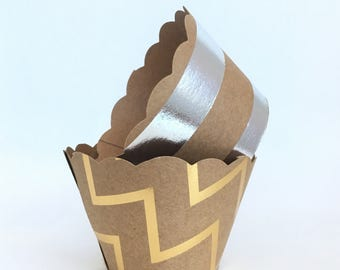 Gold and Silver Foil Kraft Cupcake Wrappers - weddings, Birthdays, Showers SALE