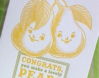 Lovely Pear Letterpress Wedding Card