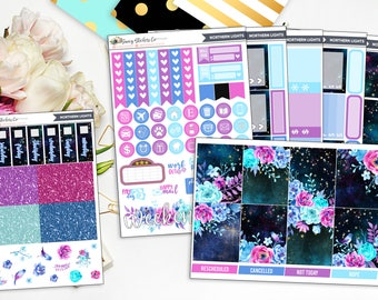 Northern Lights Full Weekly Planner Sticker Kit | for use with Erin Condren Lifeplanner™, Filofax, Personal, A5, Happy Planner