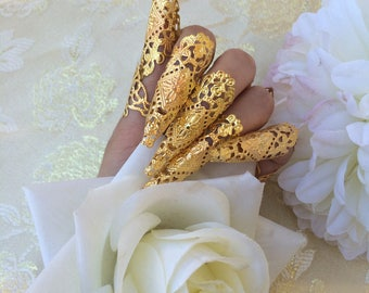 Nails armor ring gold metal oriental asian jewelry claws