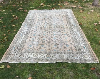 vintage Turkish Oushak wool area rug 9.84x6.53 feet 300x199 cm