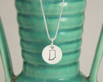 Silver Indiana necklace-Hoosier state necklace-I love Indiana jewelry-Indianapois jewelry-silver necklace-tag you're it jewelry-made in indy