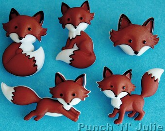 OUT FOXED - Brown Red Fox Cub Wild Baby Animal Dress It Up Novelty Craft Buttons