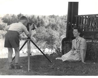 """Vintage Photo """"Home Movies"""" Young Boy Filming Mom With Movie Camera On Tripod Black & White Original Found Photo Vernacular Photography"""