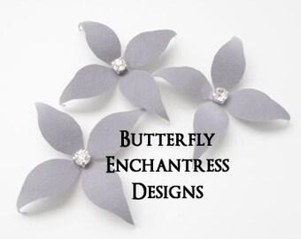 Gray Bridal Hair Flowers, Flower Hair Accessories, Wedding Bridesmaid Gift - 3 Grey Wynn Flower Hair Pins
