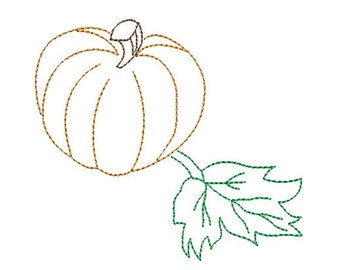 pumpkin redwork embroidery design