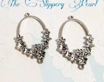 Chandelier Earring Findings Earring Drops Shiny Silver Pendants Ornate Floral 4 pieces