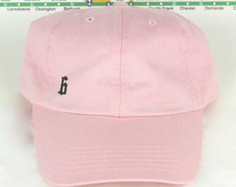 "Oouuu Baby! Low-Key Minimalist ""The 6"" Toronto Baby Pink Dad Caps. Unstructured, strap back dopeness! YYZ, GTA, CN Tower, Drake, The Weeknd!"
