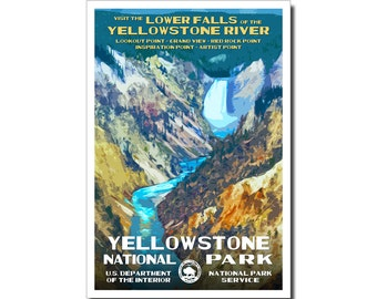 "Yellowstone National Park Poster, WPA style, 13"" x 19"" Signed by the artist. FREE SHIPPING!"