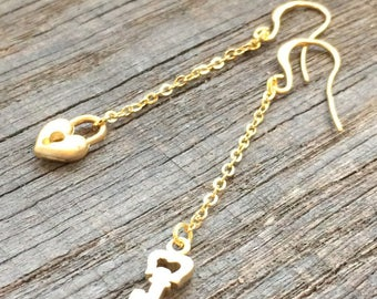 Earrings plated gold lock and key