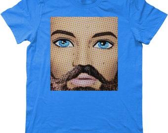 Funny, Pop Art T-Shirt, Those Eyes Though! Blue Eyes/Beard/Hipster/Cute, Gay Interest/Pride/Mardi Gras, Doll Art, (LGBT, LGBTQ), Gay Gifts