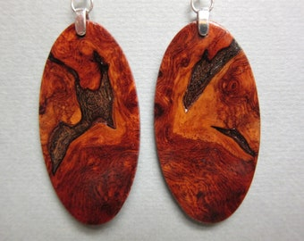 Gorgeous Amboyna Burl Exotic Wood Earrings, Handcrafted Hypoallergenic wires reclaimed repurposed