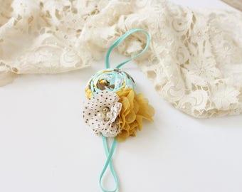 Fireflies and Fall Nights - brown cream aqua mustard rosette and chiffon flower headband newborn bow