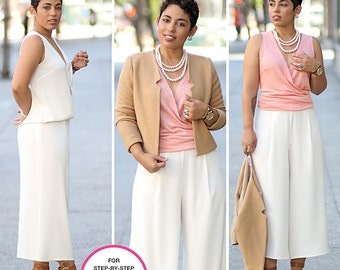 Simplicity Pattern 8093 Misses' Top, Wide Leg Cropped Pants and Lined Jacket