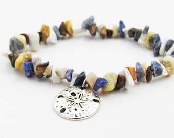 Sand Dollar Charm Mixed Agate Gemstone Bracelet