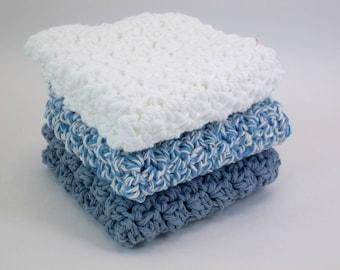Crochet Dish Cloths Blue and White  Cotton Wash Cloths Set of 3