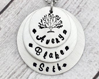 Family Tree Necklace - Mothers Day Gift - Gift for Mom - Mom Necklace - Kids Names - Mommy Necklace - Grandma Necklace - Personalized