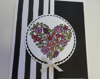 Black and White Floral Heart Valentine's Card