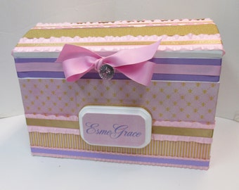 Nursery Storage Chest / Pink , Purple and Gold Fleur Di Lis Design