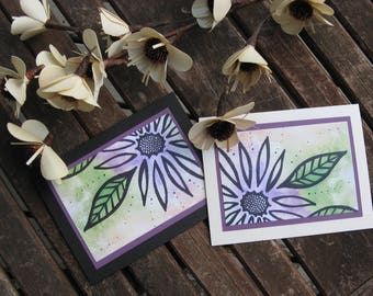 Greeting card - Flower of summer, Flower Watercolour Card, 5 Cards for 20, Ink, Watercolour,
