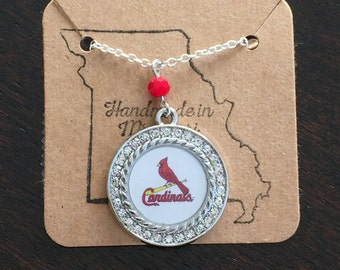 Rhinestone cardinals necklace
