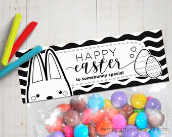 DIY Easter candy bag topper - Printable coloring treat bag topper for Easter - Colour Easter party favor for kids - Happy Easter tag