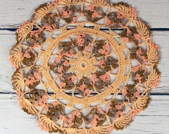 """Crocheted Peach Coral Brown Variegated Table Topper Doily- 10 1/2"""""""