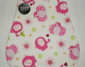 Pink Elephants on White Print Flannel Burp Cloth