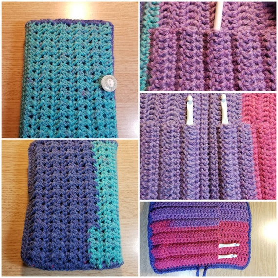 Crochet hook holder. Holder is made with Micheals Caron Cake.
