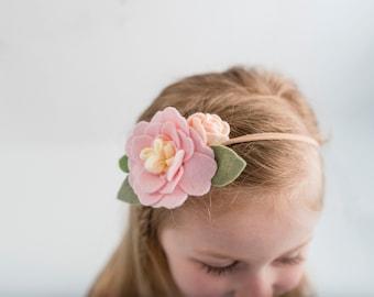 Girl's Felt Flower Headband - Light Pink - Felt Flower Headband - Ballet Pink