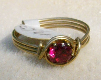 Wire Wrapped Ring - Beautiful & Very Classy, Ruby Red CZ in 14k Gold Filled Ring, Size 6, FREE SHIPPING, by JewelryArtistry - R337