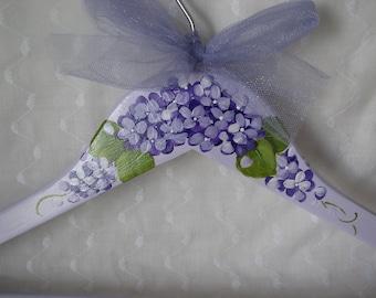 Purple Hydrangeas Clothes Hanger Lilac Lavender Hand Painted Adult Size Dress Wedding Hanger