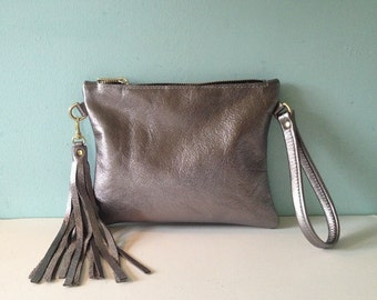 Silver leather clutch, pewter wristlet purse, silver clutch bag